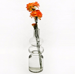 Hot sale unique shape clear reversible trumpet glass decorative flower vase
