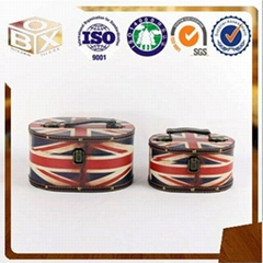 Round PU Leather Storage box with handle wholesale