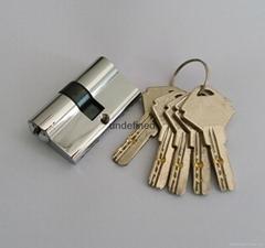 50双开插芯锁芯 全铜表面挂镀铬 高档室内门锁芯