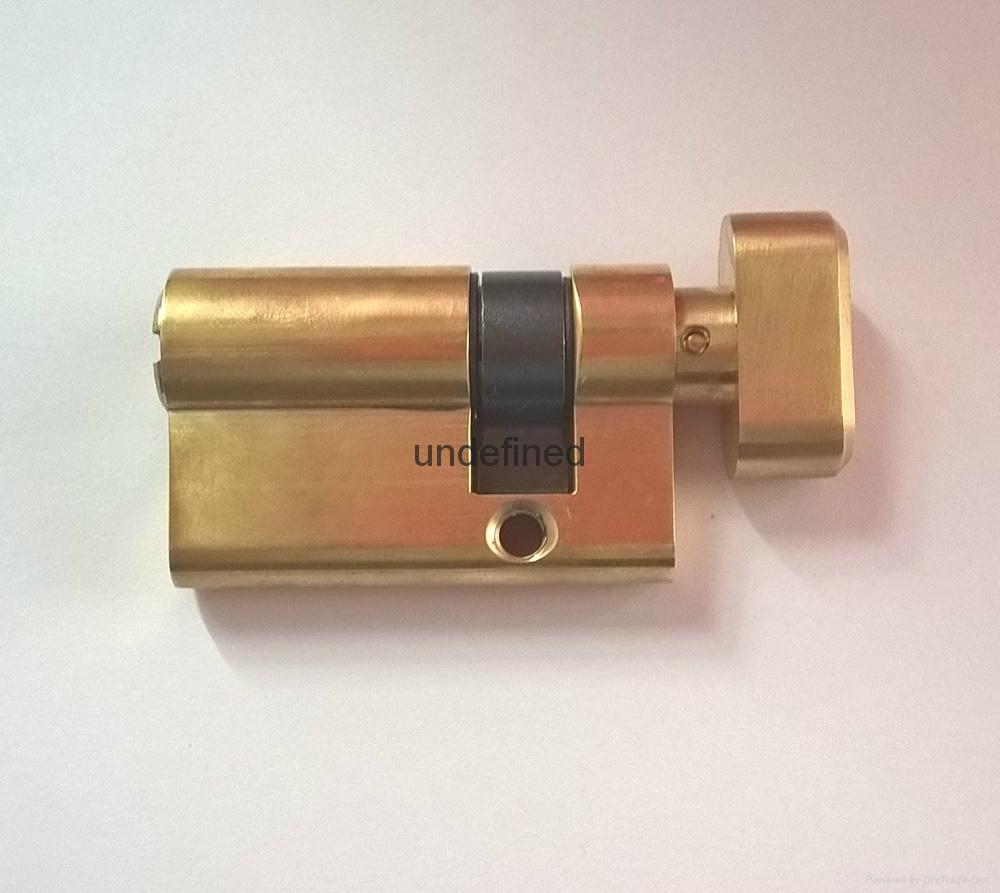 50單開插芯鎖芯 全銅偏開35+15 表面銅本色拋光 3