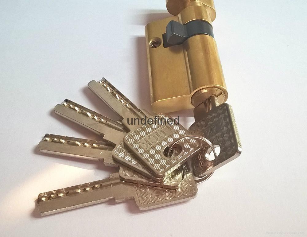50單開插芯鎖芯 全銅偏開35+15 表面銅本色拋光 4