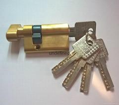 50单开插芯锁芯 全铜偏开35+15 表面铜本色抛光