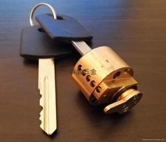 全铜酒店锁锁芯 酒店锁圆锁芯 胶柄铜锁匙