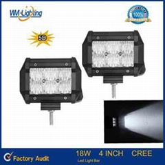 4 Inch 18W Crees 5D LED Light Bar with Flood Spot Beam