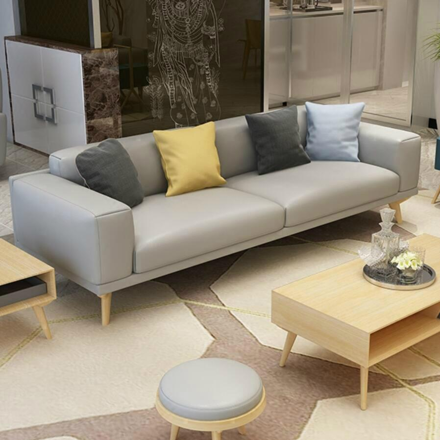 Nordic Small Apartment Leather Sofa Cowhide Solid Wood