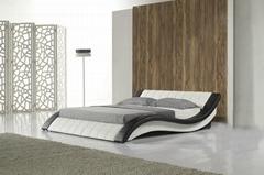 C305 Led light leather soft bed large king size comfortable bedroom furniture so
