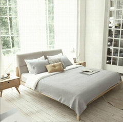 Korean designer wood leather bed 1.5 m by 1.8 m soft leather bed marriage bed Do