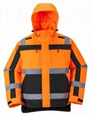 Winter Padded Hooded Reflective Jacket Workwear