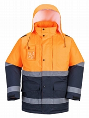 Winter Men Reflective Workwear High Visibility Safety Jacket