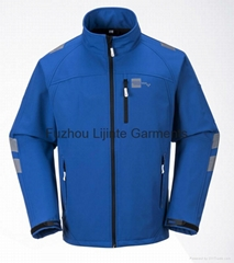 Men's Softshell Jacket Waterproof Workwear with Reflective Tapes