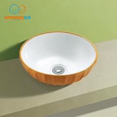 Waxiang Bathroom Porcelain Ceramic Vessel Vanity Sink Art Basin Ripple-designed