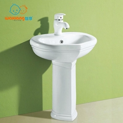 Children's Lavatory Pedestal Sink White China Wash Station for children
