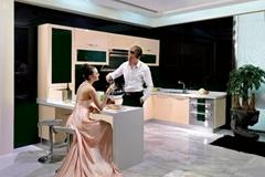 Elegant Beige Modern Style Stainless Steel Kitchen Cabinet