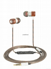 Nostalgia Wood Earphone In Ear Headset Wired Earbud