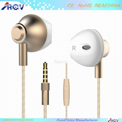 Stylish Half in ear earbuds design Wired Moving coil Headset with Microphone