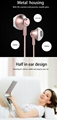 Stylish Half in ear earbuds design Wired Moving coil Headset with Microphone 4