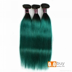 8A Wholesale Price Green Color Virgin Straight Hair Remy Human Hair Peruvian Rem