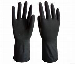 外黑內橙乳膠手套-黑工業乳膠手套