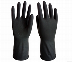 Industrial latex gloves / black and orange color latex gloves