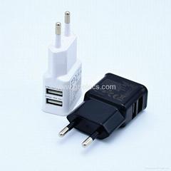 High quality Dual USB home charger EU/US plug for mobile phones