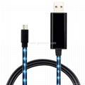Visible EL LED flowing micro USB cable