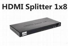 HDMI Splitter 1x8  Support 1080P 3D