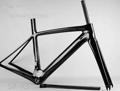 2017 All carbon fiber 700C road bicycle frame with front fork brackets frame