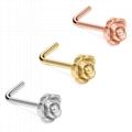 厂家批发不锈钢玫瑰款耳钉鼻钉 2
