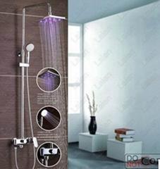 供应大淋浴花洒组合 高档LED淋浴龙头 明装大淋浴发光花洒