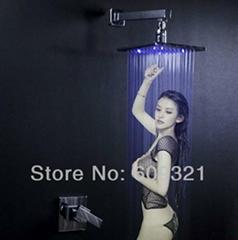 全铜 暗装淋浴龙头套装 LED入墙暗装淋浴 嵌入式花洒 酒店工程