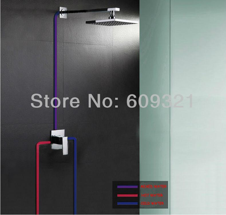"8"" Rain LED 3 Colors Shower Set Faucet Chrome Finished Shower Faucet With 3 Colo 5"