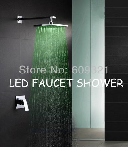 全銅 暗裝淋浴龍頭套裝 LED入牆暗裝淋浴 嵌入式花灑 酒店工程 2