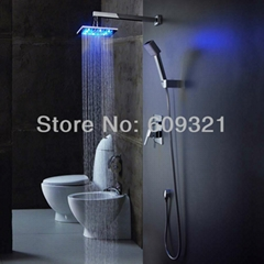 廠家直銷 LED發光暗裝冷熱淋浴花灑 入牆式淋浴龍頭 花灑淋浴