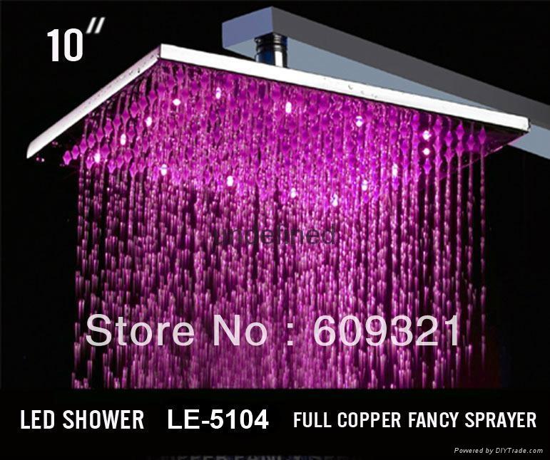十寸方形 全銅方形LED溫控變色發光頂噴淋浴花灑 發光L淋浴噴頭 1