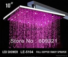 十寸方形 全銅方形LED溫控變色發光頂噴淋浴花灑 發光L淋浴噴頭