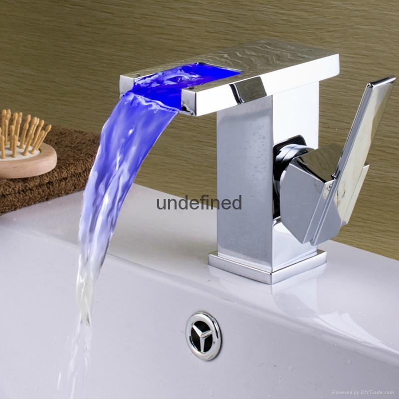 LED Waterfall Bathroom Sink Faucet 1