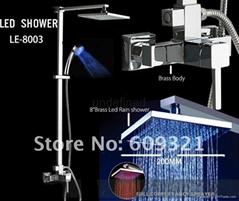 全铜方形高档明装LED淋浴发光花洒龙头套装