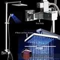 全銅方形高檔明裝LED淋浴發光花灑龍頭套裝 2