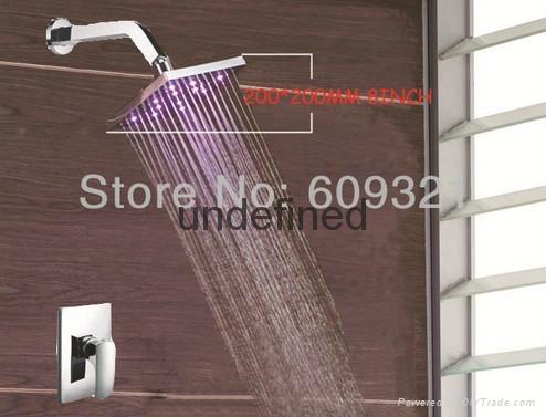 8 inch Square LED Waterfallll Bathtub Faucet shower set 1