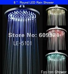 全铜8寸圆形LED温控变色淋浴顶喷花洒