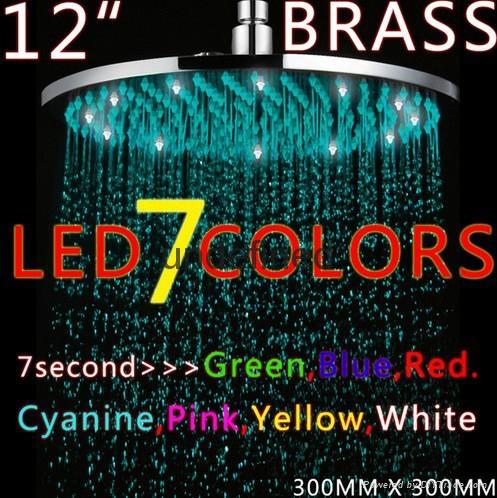 全銅12寸圓形LED發光七彩變色淋浴頂噴噴頭 1