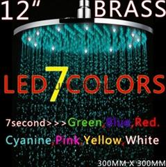 全铜12寸圆形LED发光七彩变色淋浴顶喷喷头