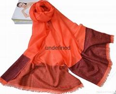 2016新款橘色絲光羊毛加彩點紗圍巾披肩女士