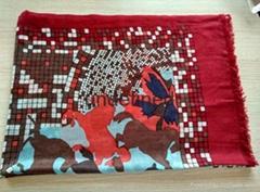 客戶定製女士高品質數碼噴繪印花羊絨圍巾