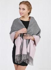 3016女士高檔雙面素色印花純羊絨披肩