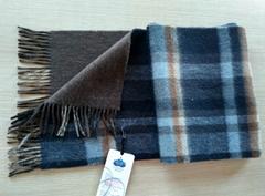 men's double-sides check cashmere scarf