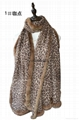 ladies warm fashion lepoard print100% woolen with rex rabbit fur scarf shawl