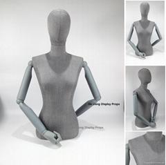 包哑灰色麻布女半身模特配灰色木手臂鸡蛋头女装展示模特道具