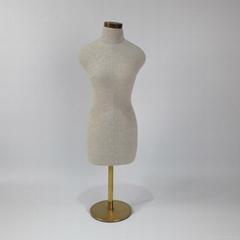 female half Grey linen bust dress form mannequin Fabric mannequin