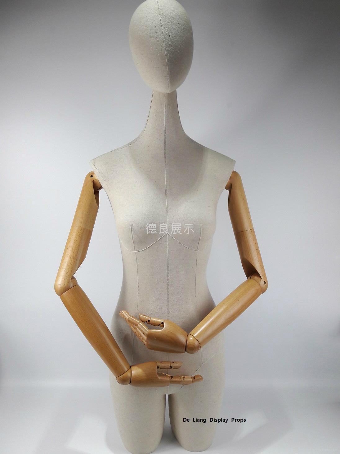 长脖子半身包白麻布女装展示模特配木手臂可旋转头 1